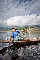 Traditional fishing on Inle Lake, Burma.