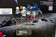 Beresheet moon landing Statue from Lego building blocks at the Holon Children's museum. Holon, Israel