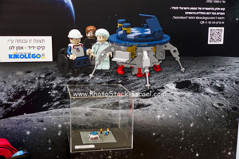 Beresheet moon landing Statue from Lego building blocks at the Holon Children's museum. Holon, Israel
