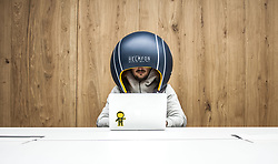 July 4, 2017 - Paris, France - A new way to get your head down in a busy office and work without distraction's, an isolating helmet which blocks out all potentially annoying noises to help concentration. 'Helmfon' is equipped with Bluetooth , a system board, microphone, speakers, magnifier and special inside pocket for smartphone. It can be used to watch movies and videos, organize Skype conferences, answer or make calls, watch or edit photos or add some personal functions. But the sound-excluding material means that workmates sitting nearby won't hear anything. Helmfon was designed and developed by Ukrainian design company Hochu Rayu, whose main idea was to create a tool, that helps anyone fully concentrate on work, gives them personal space and doesn't allow office noise kill his or her productiveness. (Credit © Ferrari/Visual/ZUMA Press)