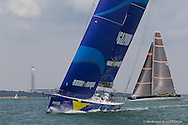 ENGLAND, Cowes, 8th August  2013. Cowes Week Big Boat Series. Esimit Europa 2 with Bella Mente in the background.