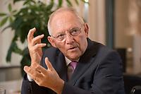 17 DEC 2014, BERLIN/GERMANY:<br /> Wolfgang Schaeuble, CDU, Bundesfinanzminister, waehrend einem Interview, in seinem Buero, Bundesministerium der Finanzen<br /> IMAGE: 20141217-01-005<br /> KEYWORDS: Wolfgang Schäuble