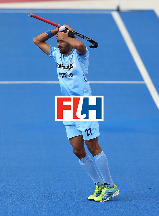 LONDON, ENGLAND - JUNE 24:  Akashdeep Singh of India reacts to missing an attempt on goal during the 5th-8th place match between Pakistan and India on day eight of the Hero Hockey World League Semi-Final at Lee Valley Hockey and Tennis Centre on June 24, 2017 in London, England.  (Photo by Steve Bardens/Getty Images)