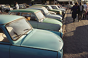 Dresden, East Germany, Trabant cars. These were very cheaply made but still hard to acquire during the Cold War. 1990.