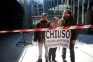 Roma 22 febbraio 2011.Protesta dei Centri sociali  in  Action contro i tagli alla cultura della giunta Alemanno e la possibile chiusura del Macro