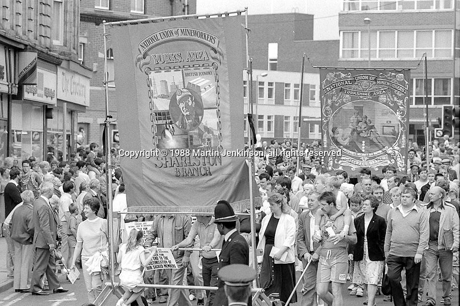 Sharlston and Pontefract banners. 1988 Yorkshire Miner's Gala. Wakefield.