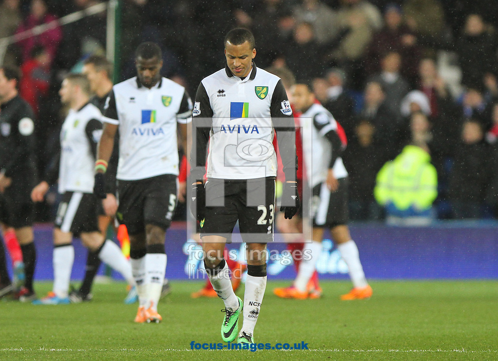 Picture by Tom Smith/Focus Images Ltd 07545141164<br /> 01/02/2014<br /> Martin Olsson (centre) of Norwich City looks dejected at the end of the Barclays Premier League match at the Cardiff City Stadium, Cardiff.