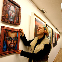 Lydia Pettit,Art Student hanging some of her work at the Fetac Art Student's Exhibition at the Ennistymon Court House Gallery on Thurday .The Exhibition runs until 24th November.<br /><br />Photograph by Eamon Ward