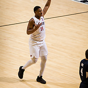 22 December 2018: San Diego State Aztecs forward Matt Mitchell (11) celebrates after making a three point shot in the fist half. The Aztecs beat the Cougars 90-81 Satruday afternoon at Viejas Arena.