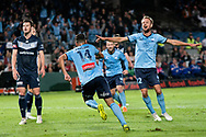 SYDNEY, AUSTRALIA - MAY 12: Sydney FC midfielder Siem de Jong (22) celebrates the goal of Sydney FC forward Alex Brosque (14) at the Elimination Final of the Hyundai A-League Final Series soccer between Sydney FC and Melbourne Victory on May 12, 2019 at Netstrata Jubilee Stadium in Sydney, Australia. (Photo by Speed Media/Icon Sportswire)