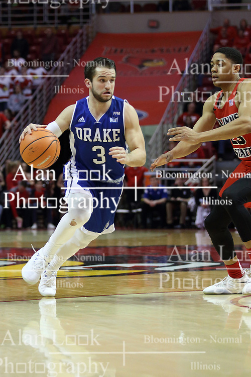 21 February 2018:  William Tinsley defends Graham Woodward during a College mens basketball game between the Drake Bulldogs and Illinois State Redbirds in Redbird Arena, Normal IL