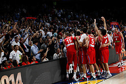 12.09.2014, City Arena, Madrid, ESP, FIBA WM, Frankreich vs Serbien, Halbfinale, im Bild Serbia´s players celebrate with the supporters // during FIBA Basketball World Cup Spain 2014 semifinal match between France and Serbia at the City Arena in Madrid, Spain on 2014/09/12. EXPA Pictures © 2014, PhotoCredit: EXPA/ Alterphotos/ Victor Blanco<br /> <br /> *****ATTENTION - OUT of ESP, SUI*****
