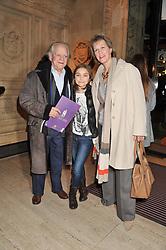 SIR DAVID JASON, his wife GILL HINCHCLIFFE and daughter SOPHIE MAE at Cirque du Soleil's VIP night of Kooza held at the Royal Albert Hall, London on 8th January 2013.