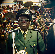 Veteran SPLA and national police officers waited under a swealtering sun for the arrival of all the dignitaries at the official independence day ceremony. After decades of conflict, Southern Sudan declared independence from the North on July 9th, 2011. Government officials, foreign dignitaries and ordinary people came to the John Garang Memorial in the capital from all over the country and the world to celebrate the historic occation..Juba, South Sudan. 09/07/2011..Photo © J.B. Russell