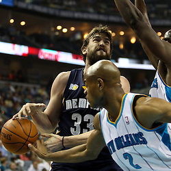 April 1, 2011; New Orleans, LA, USA; New Orleans Hornets point guard Jarrett Jack (2) steals the ball from Memphis Grizzlies center Marc Gasol (33) during the first quarter at the New Orleans Arena.    Mandatory Credit: Derick E. Hingle