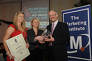 Chariperson of the Marketing Institute Emma Dillon Leetch, with Laura Myles, Trade Secrets presenting David Keane Menlo Park Hotel with his New Product/New Market Award Marketing award during the Marketing Institute of Ireland West Region's Annual Awards at a gala awards attended by over 160 people in the Radisson Blu Hotel, Galway .  Photo:Andrew Downes.