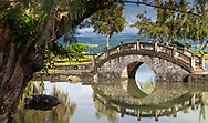 In the center of Hilo, Big Island, Hawaii, the Liliuokalani Gardens Park reflects the melting pot of cultures in Hawaii.