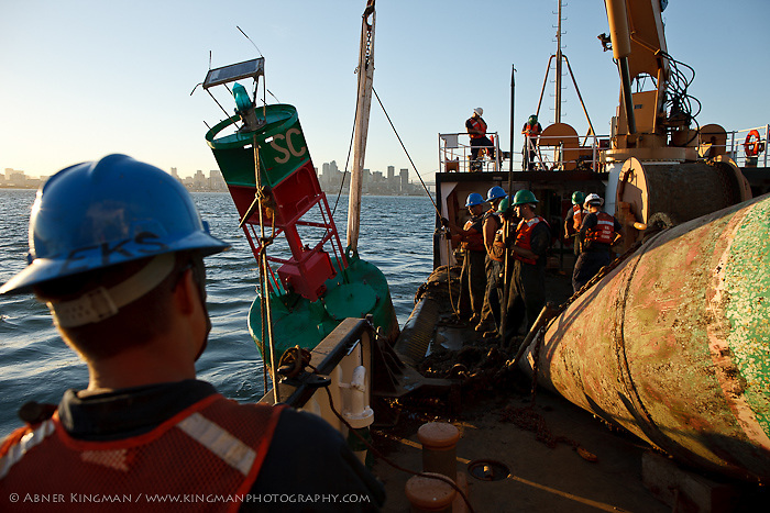 USCG CUTTER GEORGE COBB, a buoy tender, servicing buoys in San Francisco Bay