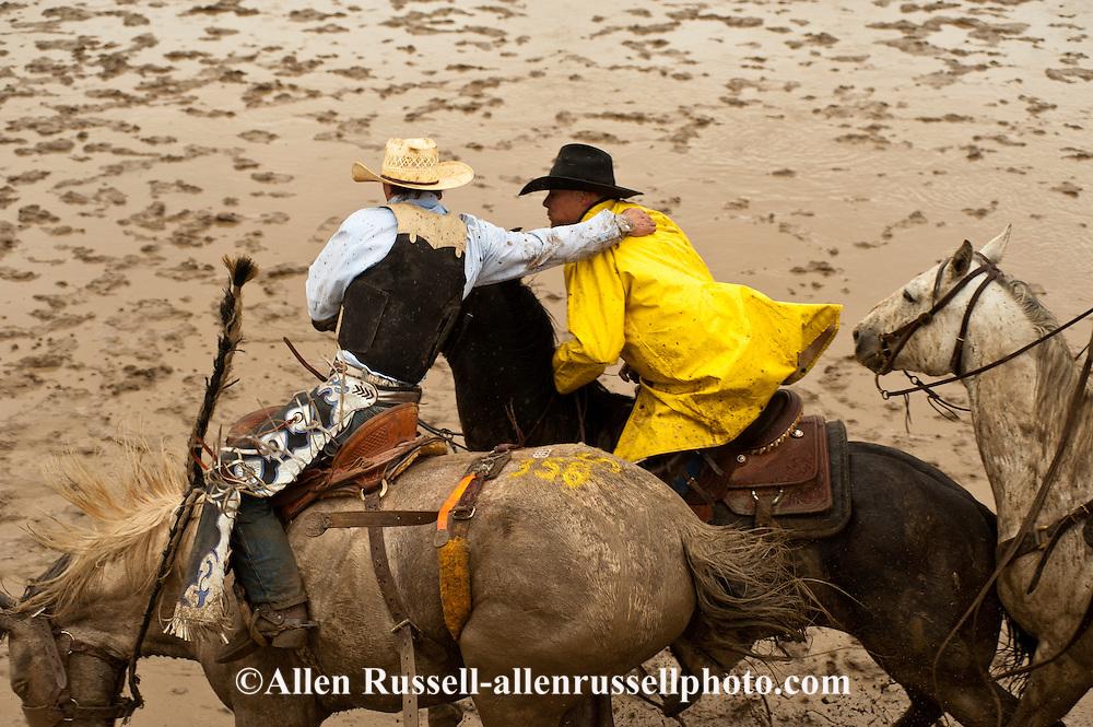 Pickup man Jay Shaw, Saddle Bronc, Miles City Bucking Horse Sale, Montana