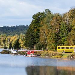 Sea planes on Lower Shin Pond near Shin Pond Village in Maine's northern forest. International Appalachian Trail.