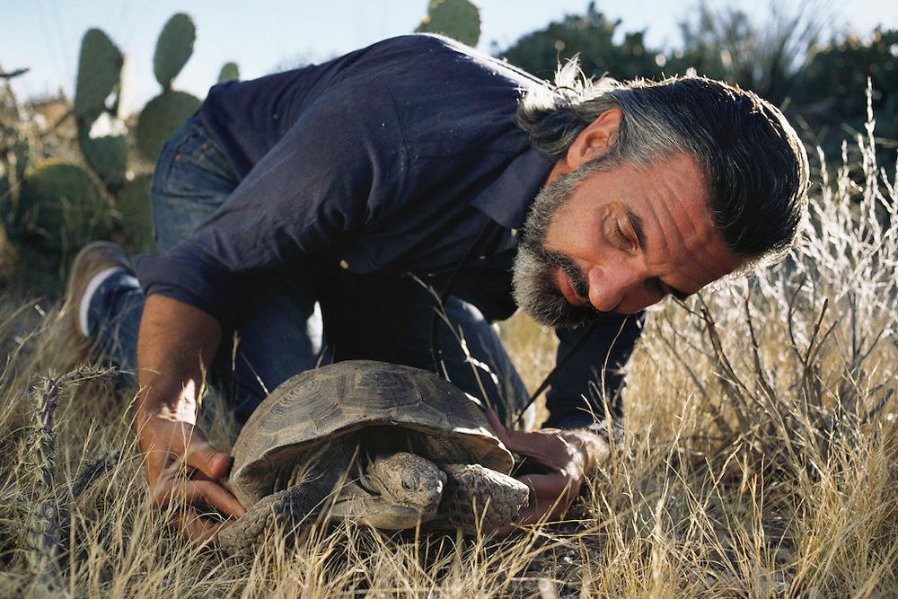 Biosphere 2 Project undertaken by Space Biosphere Ventures, a private ecological research firm funded by Edward P. Bass of Texas.  Peter Warshall, a biologist, anthropologist, former Editor-At-Large of Whole Earth Magazine and advisor to Biosphere 2. Seen here with a desert tortoise outside the Biosphere 2.  Biosphere 2 was a privately funded experiment, designed to investigate the way in which humans interact with a small self-sufficient ecological environment, and to look at possibilities for future planetary colonization.  1990