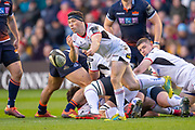 John Cooney (#9) of Ulster Rugby gets a pass away during the Guinness Pro 14 2018_19 match between Edinburgh Rugby and Ulster Rugby at the BT Murrayfield Stadium, Edinburgh, Scotland on 12 April 2019.
