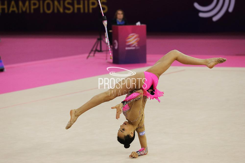 Linoy Ashram, Israel, during the 33rd European Rhythmic Gymnastics Championships at Papp Laszlo Budapest Sports Arena, Budapest, Hungary on 20 May 2017.  Photo by Myriam Cawston.