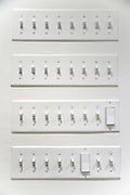 rows with many light switches
