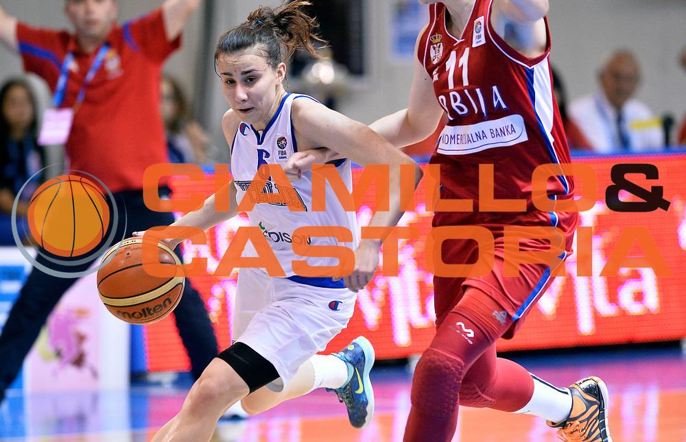 DESCRIZIONE : Udine U20 Campionato Europeo Femminile Finale 3-4 posto Italia Serbia European Championship Women Final 3-4 Place Italy Serbia<br /> GIOCATORE : Francesca Gambarini<br /> CATEGORIA : palleggio<br /> SQUADRA : Italia Italy<br /> EVENTO : Udine U20 Campionato Europeo Femminile Finale 3-4 posto Italia Serbia European Championship Women Final 3-4 Place Italy Serbia<br /> GARA : Italia Serbia Italy Serbia<br /> DATA : 13/07/2014<br /> SPORT : Pallacanestro <br /> AUTORE : Agenzia Ciamillo-Castoria/R. Morgano<br /> Galleria : Europeo Under 20 Femminile <br /> Fotonotizia : Udine U20 Campionato Europeo Femminile Finale 3-4 posto Italia Serbia European Championship Women Final 3-4 Place Italy Serbia<br /> Predefinita :