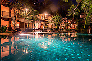 The swimming pool area of the Belmond La Résidence d'Angkor hotel in Siem Reap.