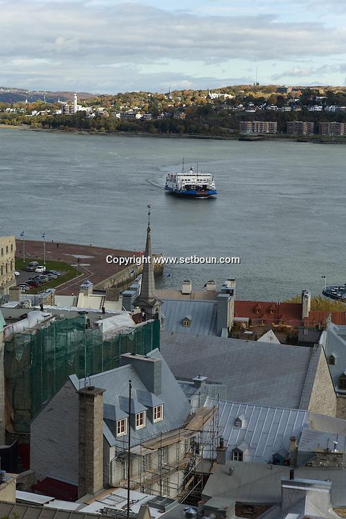 Canada. Quebec. The old port roofs and Saint Laurent river   / les toits du  vieux port et le fleuve Saint Laurent