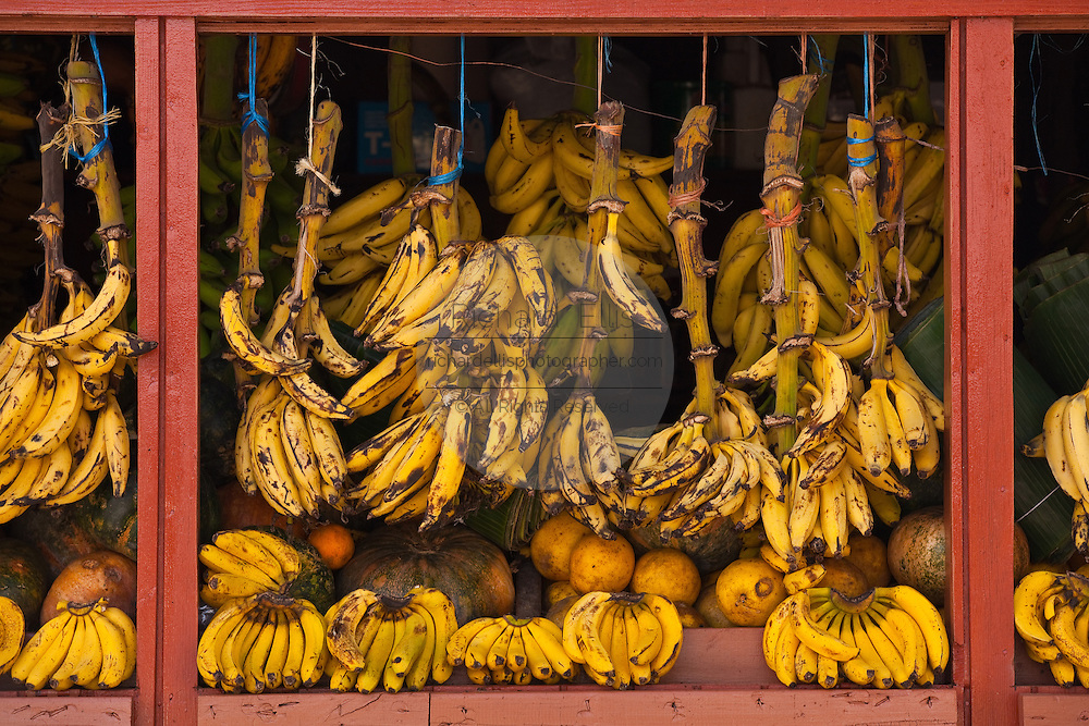 A fruit stand selling bananas and tropical fruit in Puerto Rico
