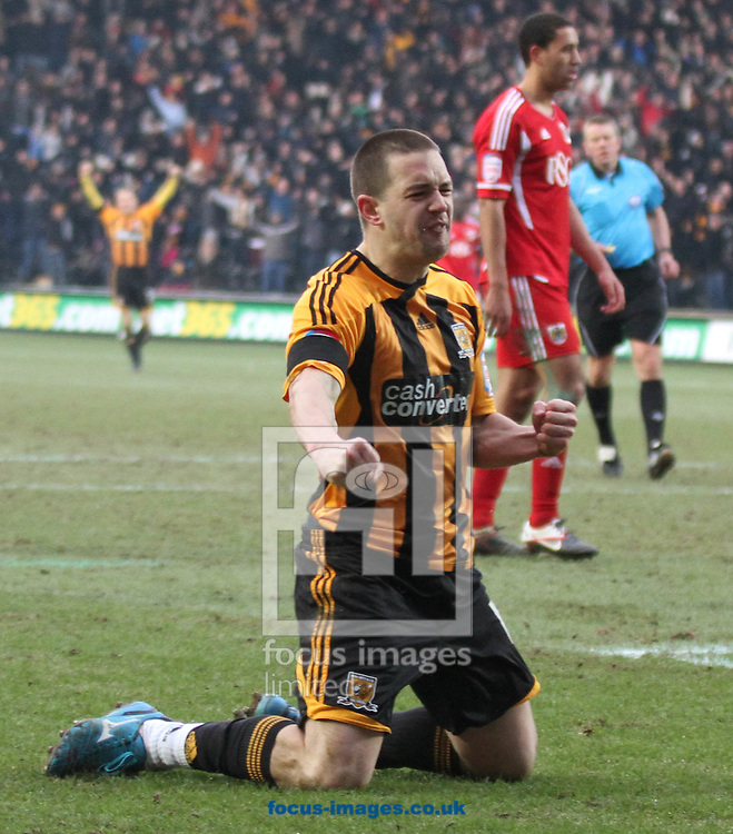Picture by Richard Gould/Focus Images Ltd. 07710 761829.11/02/12.Matty Fryatt of Hull scores the Hulls 3rd goal during the Npower Championship match at KC Stadium, Hull.
