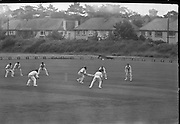 Ireland v. Leicester, Cricket at Sydney Parade..1963..07.07.1963..7th July 1963.  .Today Ireland played Leicester at cricket in the Pembroke Cricket Club grounds at Sydney Parade, Ballsbridge ,Dublin...Ireland's opening bat, Stanley Bergin, is pictured starting for a run as he powered the ball away during the match at Sydney Parade.
