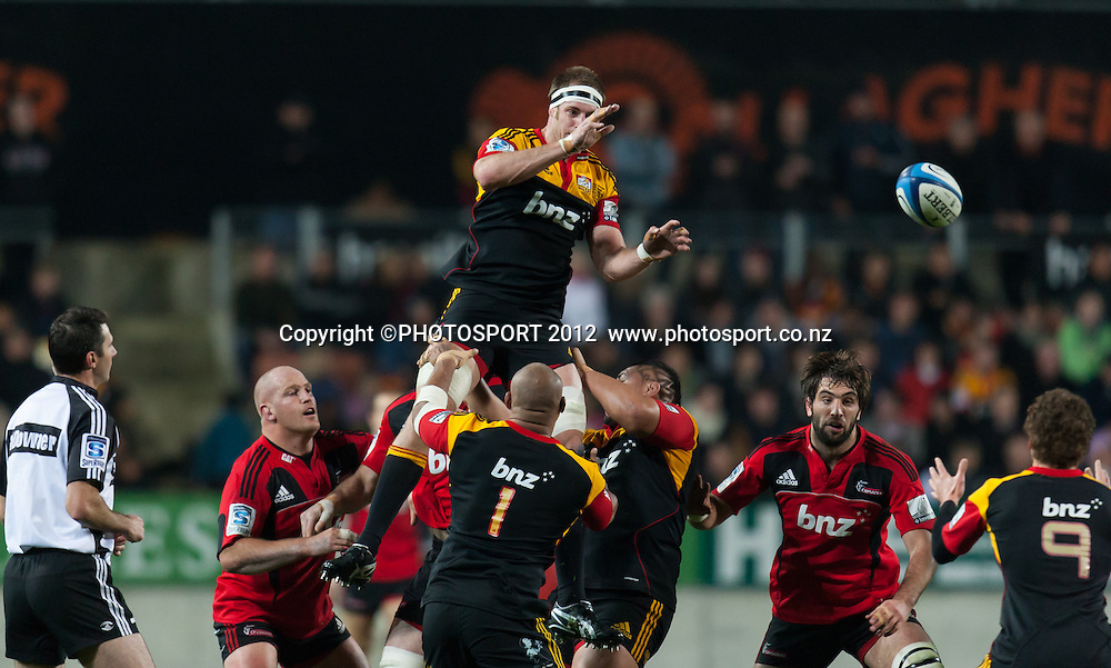 Chiefs' captain Craig Clarke gets the lineout ball during the Super Rugby Semi Final won by the Chiefs (20-17) against the Crusaders at Waikato Stadium, Hamilton, New Zealand, Friday 27 July 2012. Photo: Stephen Barker/Photosport.co.nz