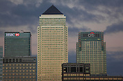 UK, London, Docklands, Canary Wharf towers and the river Thames as seen from Rotherhithe. September 2014<br /> <br /> &copy; Zute Lightfoot Photography