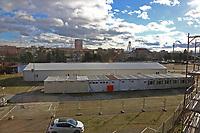 Ludwigshafen. 09.03.17 | BILD- ID 026 |<br /> Messplatz. Seit Oktober 2015 wurden hier Fl&uuml;chtlinge in Notunterk&uuml;nften untergebracht. In Winterfesten Zelten wurden den meist m&auml;nnlichen Fl&uuml;chtlingen eine Unterkunft geboten. <br /> Mittlerweile wurden zwei Zelte und mehrere Container abgebaut.<br /> Bild: Markus Pro&szlig;witz 09MAR17 / masterpress (No Modelrelease!)