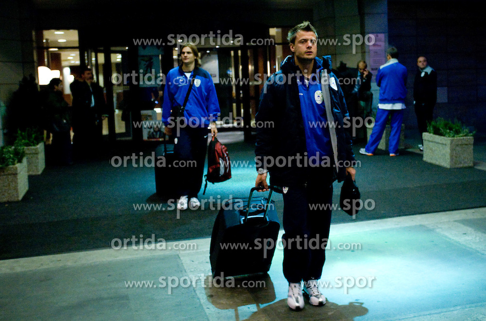 Aleksander Seliga of Slovenian National team at departure to the FIFA World Cup Qualifications match between Slovakia and Slovenia, on October 10, 2009, Crown Plaza Hotel, near Tehelne Pole Stadium, Bratislava, Slovakia.  (Photo by Vid Ponikvar / Sportida)