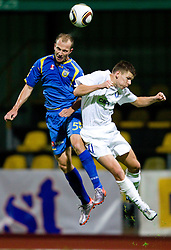 Rok Hanzic of Domzale vs Roman Bezjak of Celje  during the football match between NK Domzale and MIK CM Celje, played in the 10th Round of Prva liga football league 2010 - 2011, on September 22, 2010, Spors park, Domzale, Slovenia. Domzale defeated Celje 1 - 0. (Photo by Vid Ponikvar / Sportida)