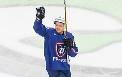 Damien Raux of France celebrates after winning during the 2017 IIHF Men's World Championship group B Ice hockey match between National Teams of France and Belarus, on May 12, 2017 in AccorHotels Arena in Paris, France. Photo by Vid Ponikvar / Sportida