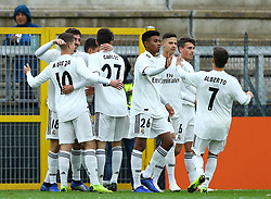 November 27, 2018 - Rome, Italy - AS Roma - FC Real Madrid : UEFA Youth League Group G .Real Madrid celebrates after the goal of 0-1 at Tre Fontane Stadium in Rome, Italy on November 27, 2018. (Credit Image: © Matteo Ciambelli/NurPhoto via ZUMA Press)