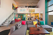 Second Avenue Lofts, suite of Sandra Young, owner of Willow Studio, for SH7 Decor article for Saskatoon Home, Fall 2010..Artwork:.2. Library 2 by Jill Thomson.3. Waterlight 36 by Jay Roma Lamb.4. Where the Wild Things Grow by Jane Harrington.5. Mobile by Sandra Young.6. Back Road to Heaven 7 by Patrick Dowie.7. Green Falls by Chris Hodge.8. Ness Creek by James Wyper.9. Landscape by Hugo Alvarado.10. Tree Sculpture by Todd Young