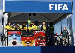 July 2, 2018 - Moscow, Russia - Supporters at Fan Zone - FIFA World Cup Russia 2018.Brazil supporters at Fifa Fan Zone in Moscow, Russia on July 2, 2018. (Credit Image: © Matteo Ciambelli/NurPhoto via ZUMA Press)