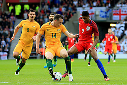 Marcus Rashford of England takes on Brad Smith of Australia  - Mandatory by-line: Matt McNulty/JMP - 27/05/2016 - FOOTBALL - Stadium of Light - Sunderland, United Kingdom - England v Australia - International Friendly