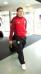CARDIFF, WALES - Monday, September 10, 2012: Wales' Joe Allen arrives at Cardiff Airport as the side travel to Serbia for the 2014 FIFA World Cup Brazil Qualifying Group A match in Novi Sad. (Pic by David Rawcliffe/Propaganda)