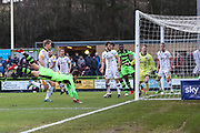 Forest Green Rovers Christian Doidge(9) heads the ball misses the target during the EFL Sky Bet League 2 match between Forest Green Rovers and Port Vale at the New Lawn, Forest Green, United Kingdom on 6 January 2018. Photo by Shane Healey.