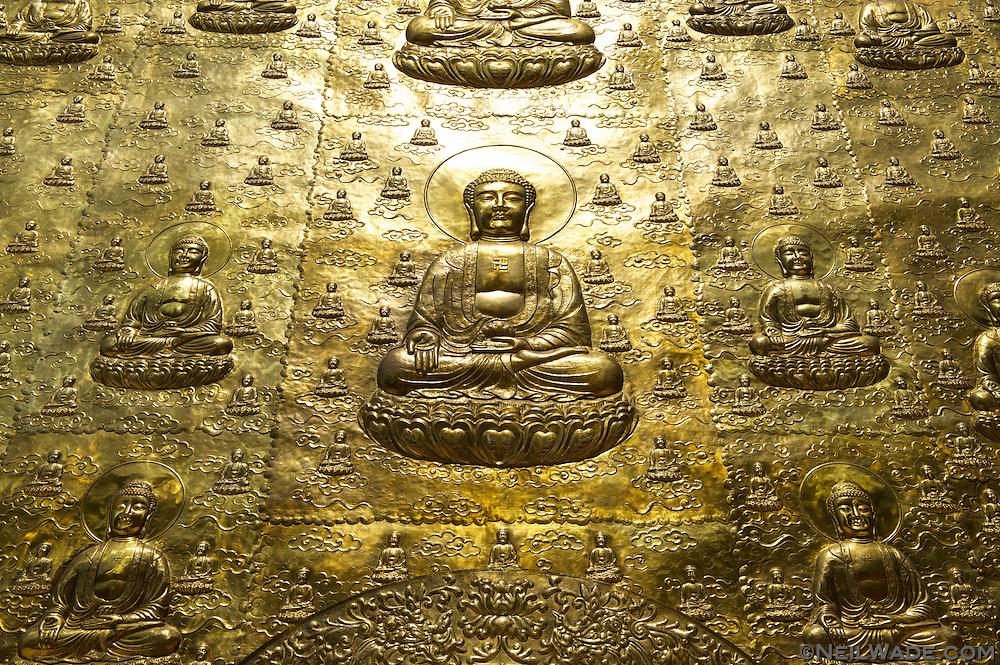 Golden Buddhas near Puli, Taiwan.