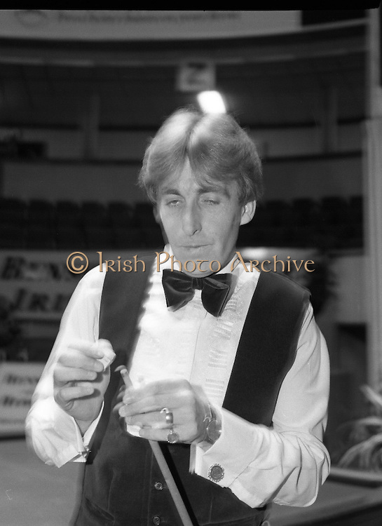 Benson and Hedges Masters Snooker.  (N62)..1981..19.02.1981..02.19.1981..19th February 1981..The quarter final of the Benson and Hedges Masters Snooker competion was held tonight at Goffs , Kill, Co Kildare. The match would be contested between Terry Griffiths and Kirk Stevens...Image shows Terry Griffiths preparing for his set of frames against Kirk Stevens.