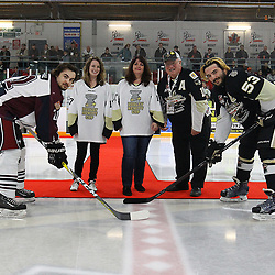 """TRENTON, ON  - MAY 4,  2017: Canadian Junior Hockey League, Central Canadian Jr. """"A"""" Championship. The Dudley Hewitt Cup Game 6 between Trenton Golden Hawks and the Dryden GM Ice Dogs.    Derek McPhail #21 of the Dryden GM Ice Dogs, Josh Allan #53 of the Trenton Golden Hawks, Trenton Mayor and dignitaries during the ceremonial puck drop<br /> (Photo by Alex D'Addese / OJHL Images)"""