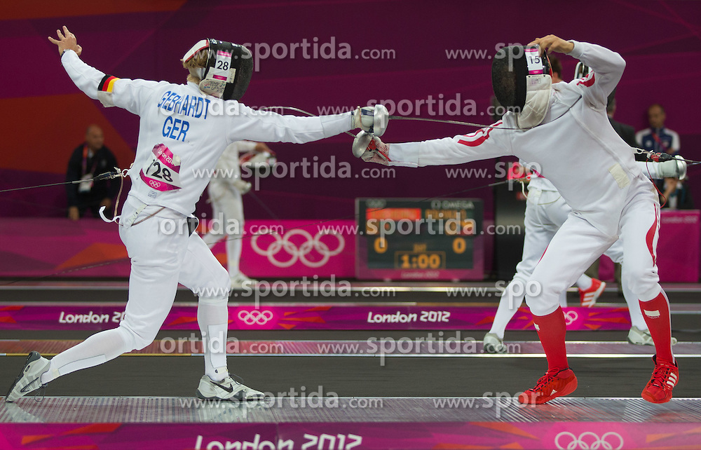 11.08.2012, Copper Box, London, GBR, Olympia 2012, Moderner Fuenfkampf, Fechten, Herren, im Bild Thomas Daniel (AUT) // Thomas Daniel (AUT) during fencing  of Men's Modern Pentathlon at the 2012 Summer Olympics at Copper Box, London, United Kingdom on 2012/08/11. EXPA Pictures © 2012, PhotoCredit: EXPA/ Johann Groder